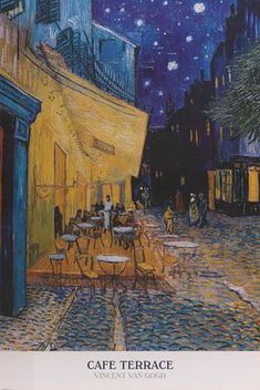 """A beautiful poster of the painting """"Cafe Terrace at Night"""" by Vincent Van Gogh - one of the world's most famous works of art! Fully licensed. Ships fast. 24x36 inches."""