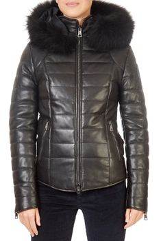 This is the stunning 'Katleen' Short Black Leather Puffer Coat from our friends at Vent Couvert! SHOP NOW! Shop Now, Black Leather, Winter Jackets, Leather Jacket, Coat, Clothing, Shopping, Collection, Fashion