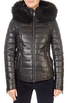 'Katleen' Short Black Leather Puffer Coat | Jessimara