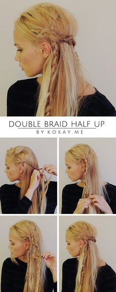 Step by step half up braided tutorial