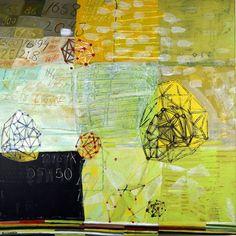 "'Geometric Bounce', 30"" x 30"", acrylic, ink on canvas, (c) Barbara Gilhooly $1500."