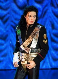 A waxwork figure of Michael Jackson stands on stage as Madame Tussauds unveils 3 new Michael Jackson waxworks at Lyric Theatre on June 24, 20...