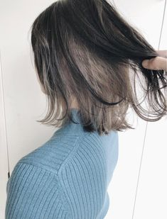 #カラー インナーカラー☆グレージュ Hidden Hair Color, Two Color Hair, Hair Color Streaks, Korean Hair Color, Blonde Underneath Hair, Under Hair Dye, Short Grunge Hair, Split Dyed Hair, Aesthetic Hair