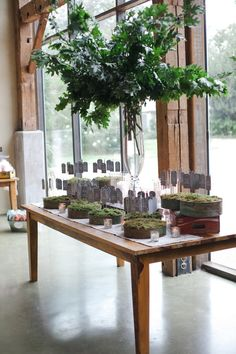 Wedding Escort Card Table: A large arrangement of oak leaf branches is the focal point of an escort card table. Escort cards hang from small shepherd's hooks sitting in beds of moss in copper patina trays.