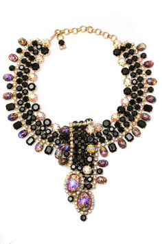Black statement jewelled necklace £1,950 from Carole Tanenbaum Vintage Collection; www.caroletanenbaum.com  More ideas here http://raspberrywedding.com/2013/05/03/nothing-says-i-love-you-like-vintage-jewellery/