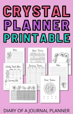 Skip the bullet journal planning this month and get these AMAZING crystal-themed bullet journal printables! #bulletjournalprintables #printables #bujo Daily Planner Pages, Printable Planner Pages, Templates Printable Free, Planner Template, Weekly Planner, Planner Sheets, Planner Inserts, Sticker Organization, Bullet Journal Printables