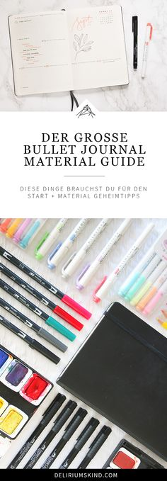 Start a BuJo: You need this Bullet Journal material Delirium child - Pencils? You can find out what you really need for your BuJo in the large - Bullet Journal Inspo, Bullet Journal Materials, Bullet Journal Layout, Bullet Journal Banner, Bujo, Moleskine, Hobby Lobby Christmas, Bullet Journel, How To Write Calligraphy