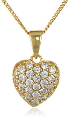 "Yellow Gold & Sterling Silver Swarovski Crystal Heart Pendant w/ 18"" Necklace"