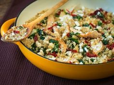 Easy One-Pan Greek Quinoa. Season chicken w S, P, oregano. Sauté in evoo. Leave in pan w onions and then quinoa. Toasted nuts could be added too.