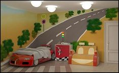 Wish I had this mural idea when he still had his race car bed!