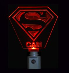 Superman Night Light, Colored LED Personalized and  Customized with name engraved on it