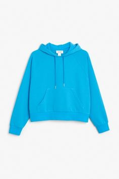 Monki Image 2 of Cropped hoodie in Turquoise Bluish