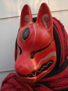 Red grey kitsune mask by ~missmonster on deviantART Red grey kitsune mask by ~missmonster on deviantART Japanese Urban Legends, Character Concept, Character Design, Kitsune Mask, Japanese Mask, Fox Mask, Cool Masks, Cosplay Tutorial, Masks Art