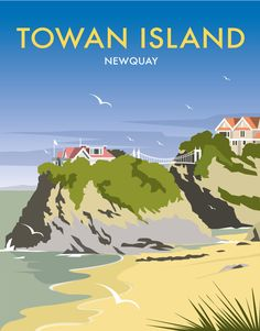 Towan Island Art Print at Whistlefish Galleries - handpicked contemporary & traditional art that is high quality & affordable. Available online & in store Posters Uk, Railway Posters, British Travel, Tourism Poster, Travel Illustration, Retro Illustration, Landscape Prints, Vintage Travel Posters, Framed Art Prints