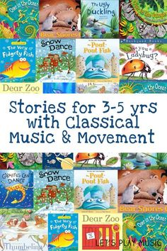 with Classical Music And Movement Stories with classical music and movement for 3 - 5 year olds - A great way to encourage young imaginations.Stories with classical music and movement for 3 - 5 year olds - A great way to encourage young imaginations. Preschool Books, Book Activities, Preschool Activities, Music Activities For Kids, Preschool Music Crafts, 3 Year Old Preschool, Preschool Library, Preschool Music Activities, Music Therapy Activities