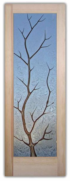 Interior Glass Doors Etched Glass Rustic Decor Branches Western Decor