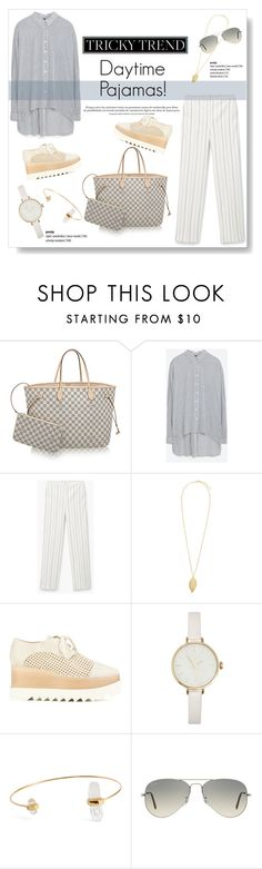 """Tricky Trend: Daytime Pajamas"" by viola279 ❤ liked on Polyvore featuring Zara, MANGO, STELLA McCARTNEY and Ray-Ban"