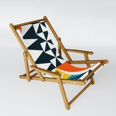 Cirque 05 Abstract Geometric Patio Sling Chair by The Old Art Studio - One Size Patio Chairs, Outdoor Chairs, Outdoor Furniture, Outdoor Decor, Mid Century Chair, Folding Stool, Old Art, Electric Blue, Recliner
