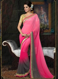 Charming Pink With Grey Georgette Designer Casual Wear Saree  http://www.angelnx.com/Sarees
