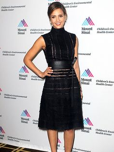AWARD WORTHY Jessica Alba keeps it simple with a black dress in Greenwich, Conn., where she was honored by Mount Sinai Hospitals Childrens Environmental Health Center on Monday.
