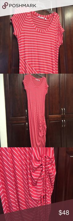 Athleta long dress red with pink mixed stripe New never worn athleta dress red with pink stripes sinched drawstring on the side .  This dress is great for someone who is tall. Athleta Dresses