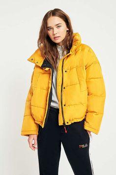 4358f1261583 Light Before Dark Yellow Pillow Puffer Jacket
