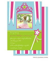 Princess Birthday Party Invitation with Photo: Every little girl loves a princess party and this is the perfect invitation! Her age may be printed in the tiara at the top of the card, with your favorite digital photo printed in a beautiful matte finish below. Her age or initial may also e printed in the wand, with the text for the party printed in a lime green band. Turn the card over to see a coordinating stripe pattern printed on the back as a charming accent.