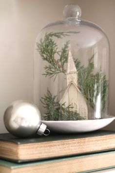 #Christmas cloche by dianne ...put @ church entrance table
