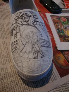 Hand painted Beauty and the Beast Shoes by Rhiannon Walters, via Flickr. Love the detail she puts in her work!!