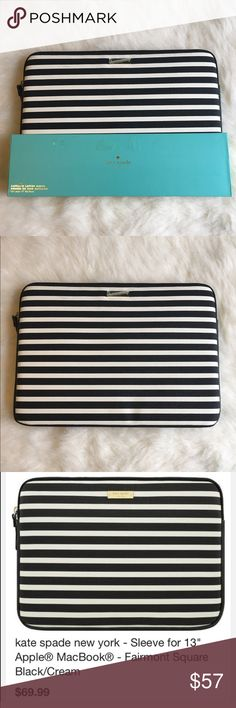 """Kate Spade laptop sleeve Shield your 13"""" Apple MacBook against scratches and scuffs with this kate spade new york KSMB-012-FSQBC sleeve, which features stylish kate spade new york designs on durable vinyl material. The gold zipper closure adds a touch of style. 💞BRAND NEW NEVER USED💞🚫NO TRADES LOW BALL OFFERS GET BLOCKED🚫 kate spade Accessories Laptop Cases"""
