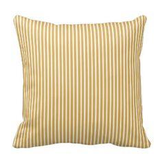 Honey Gold Striped Decorative Pillows