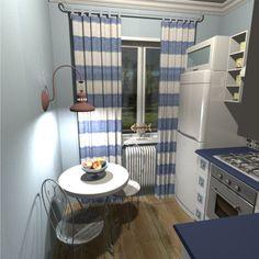 Дизайн маленькой голубой кухни в морском стиле