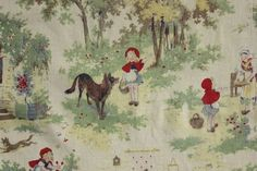Wonderful Little Red Riding Hood , French vintage Nursery room  / children's child's fabric ~*~ sweet curtain panel c1930 ~  www.textiletrunk.com