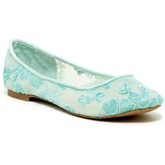 Ziginy Haylynn Lace Ballet Flat ($30) ❤ liked on Polyvore featuring shoes, flats, mint, round toe flats, mint green ballet flats, slip on shoes, ballerina flat shoes and slip-on shoes