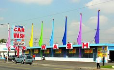 Googie design car wash in San Berndardino, CA.