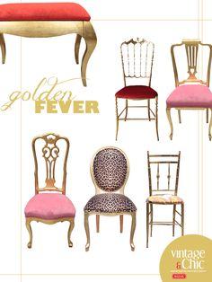 Una de sillas, butacones y bancos dorados · Gilded chairs, armchairs and benches