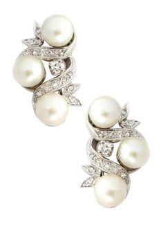 14K White Gold 6.7mm Cultured Pearl & Diamond Leaf Earrings by Gatsby Glam: Estate Jewelry on @HauteLook