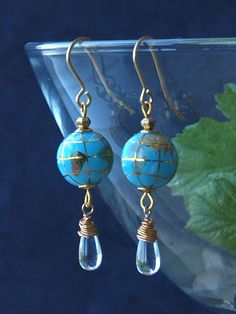 planet earrings glass planet earrings Earth by HandmadeEarringsUk