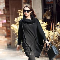 Black Oversized Loose Long Women Sweatshirt Ladies Casual Plus Size Thicken Warm Pullovers Sweatshirts Jackets For Women, Sweaters For Women, Knit Sweater Dress, Neck Warmer, Sleeve Styles, Plus Size, Pullover, Sweatshirts, Lady
