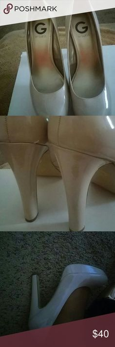 Guess beige Platforms Nude patent leather. Very comfy.   Approx 4.5 in rather thick heel.  Platform 1inch. Guess Shoes Heels