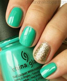 16 stellar manis that celebrate st paddys day via brit co sea foam green and gold sparkle i love china glaze nail polish so pretty prinsesfo Choice Image