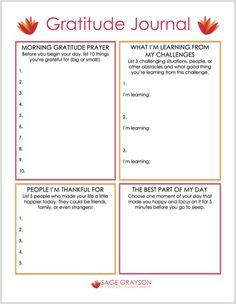 Free Printable Gratitude Journal - Sage Grayson Coaching