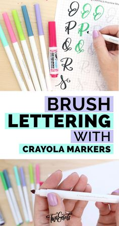 Brush lettering with Crayola markers — TwoEasels Hand Lettering 101, Hand Lettering For Beginners, Hand Lettering Tutorial, Hand Lettering Practice, Doodle Lettering, Creative Lettering, Brush Lettering Worksheet, Lettering Styles, Typography Fonts
