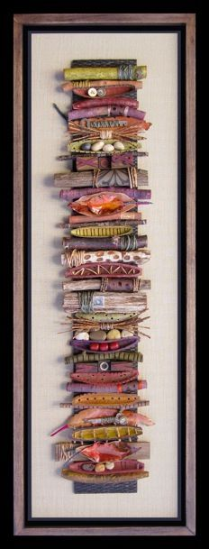 take things found in your yard (sticks, rocks, leaves; then add decorative sticks, decorative rocks, marbles; tie some with raffia, cording and make your own collage. Great as a garden sculpture!