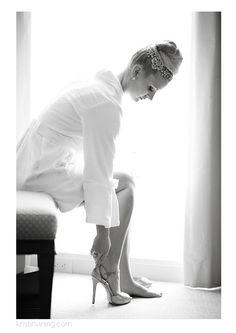 bride getting ready, wedding heels, top bun, jeweled headpiece, black and white, Mint Museum Wedding, Charlotte NC Wedding Photographer, Kristin Vining Photography