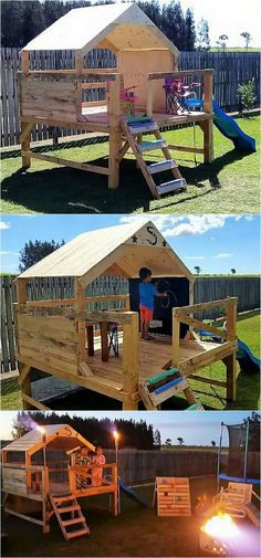 pallets wooden kids playhouse for garden
