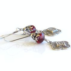 Edwardian Deep Red Czech Glass Crystals Sterling by Ctbydonna