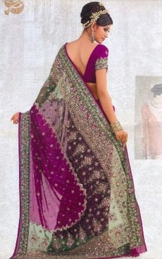 Purple bridal sari