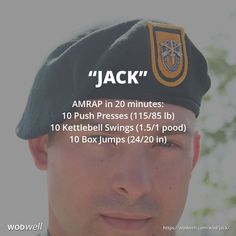 """Jack"" WOD - AMRAP in 20 minutes: 10 Push Presses (115/85 lb); 10 Kettlebell Swings (1.5/1 pood); 10 Box Jumps (24/20 in)"