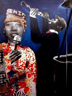 Sam Nhlengethwa South African Design, Romare Bearden, Contemporary African Art, Kind Of Blue, Africa Art, Jazz Musicians, Midnight Blue, Abstract Art, Artwork